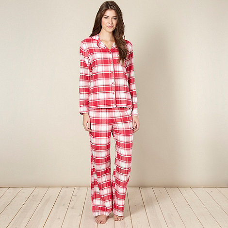 Lounge & Sleep - Dark pink checked pyjama set