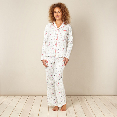 Lounge & Sleep - Cream mistletoe pyjama set