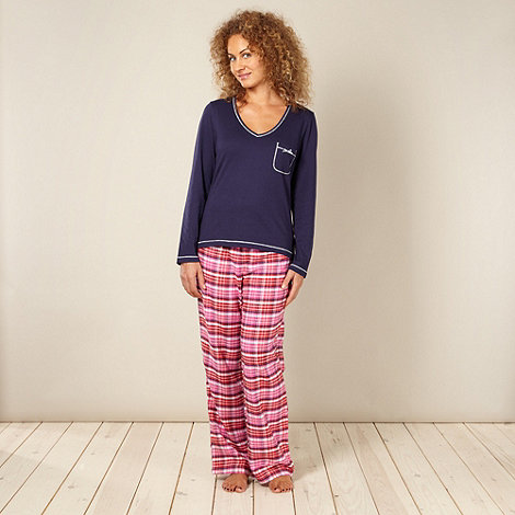Lounge & Sleep - Navy checked jersey pyjama set