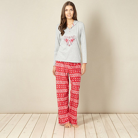 Lounge & Sleep - Grey heart two piece pyjama set