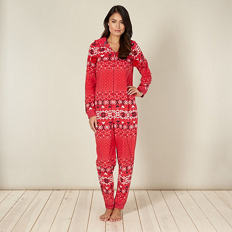 Lounge & Sleep - Red fairisle onesie