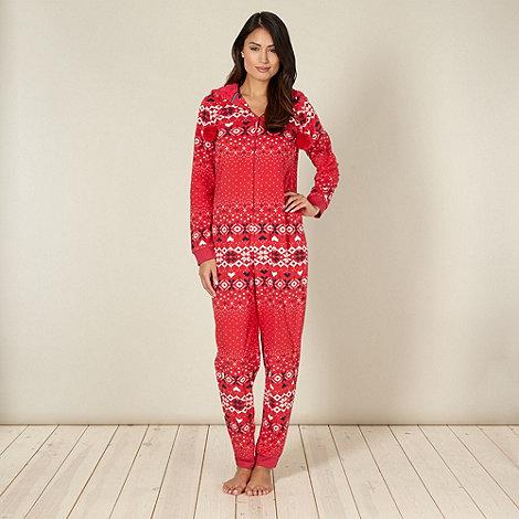 Lounge & Sleep - Red fairisle onesie