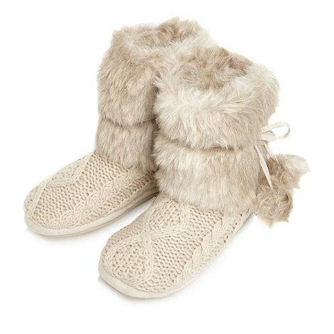 RJR.John Rocha - Designer beige knitted slipper boots