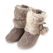 Online exclusive designer taupe cable knitted slipper boots