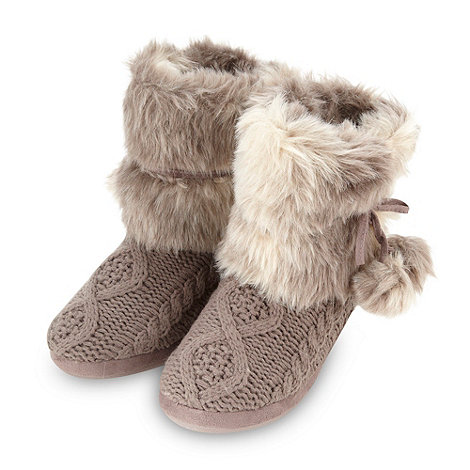 RJR.John Rocha - Online exclusive designer taupe cable knitted slipper boots