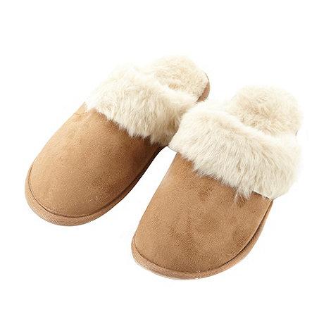 RJR.John Rocha - Designer tan suedette mule slippers