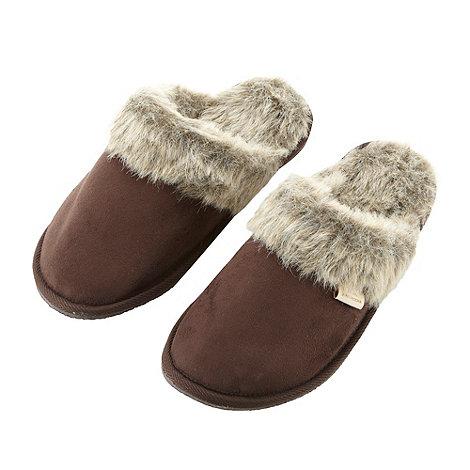 RJR.John Rocha - Designer brown suedette mule slippers