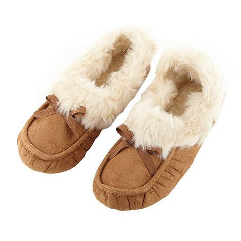 RJR.John Rocha - Designer tan suedette moccasin slippers