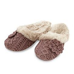 RJR.John Rocha - Designer dark pink knitted corsage slippers