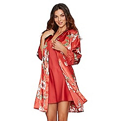 The Collection - Bright orange floral print lace satin 'Ariana' dressing gown