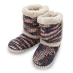 RJR.John Rocha - Designer navy space dye knitted slipper boots