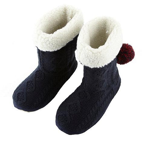Iris & Edie - Designer navy cable bootie slippers