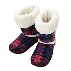 Iris & Edie - Designer pink tartan slipper boots