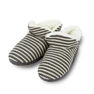 Grey striped knit slippers