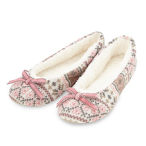 Lounge & Sleep - Pink knitted ballerina slippers