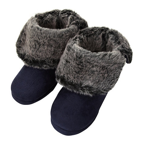 Lounge & Sleep - Navy smooth roll cuff slipper boots