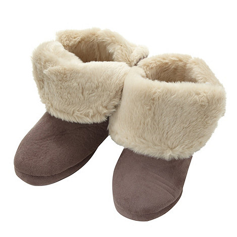 Lounge & Sleep - Taupe smooth roll cuff slipper boots