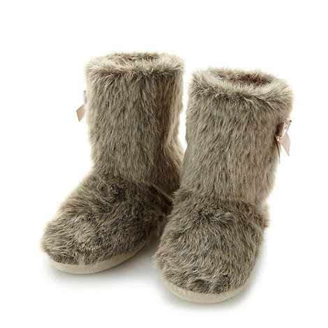 Lounge & Sleep - Light brown faux fur slipper boots