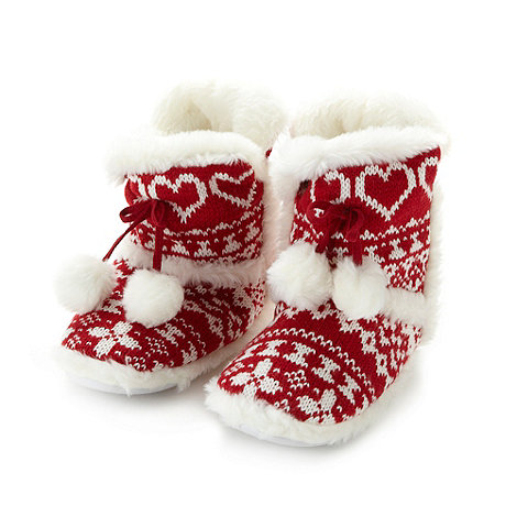 Lounge & Sleep - Red fairisle knitted slipper boots