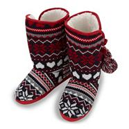 Red fairisle slipper boots