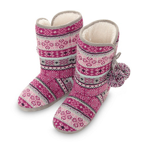 Lounge & Sleep - Online exclusive dark pink fairisle knit slipper boots