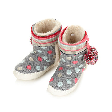 Lounge & Sleep - Grey knitted spot stripe boot slippers