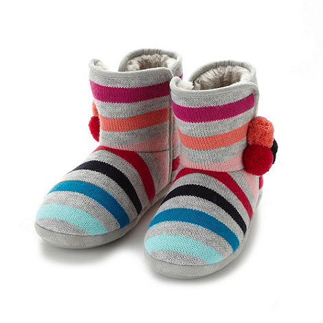 Lounge & Sleep - Grey multi striped slipper boots