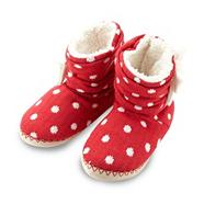 Red spotted knit slipper boots