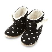 Black spotted knit slipper boots