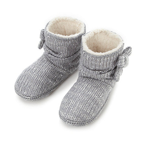 Lounge & Sleep - Grey sequin knit slipper boots