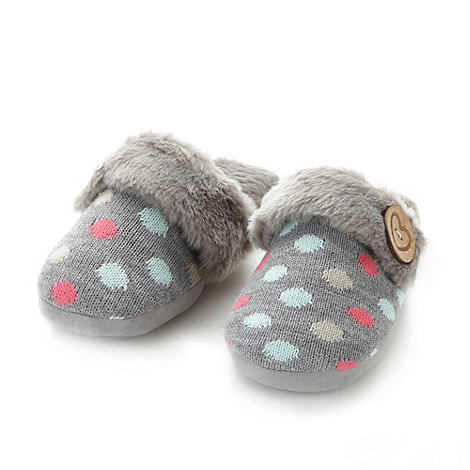 Lounge & Sleep - Dark grey spotted mule slippers