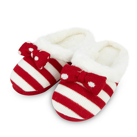 Lounge & Sleep - Red striped faux fur lined slippers