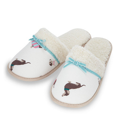 Lounge & Sleep - Cream dog patterned fleece lined mule slippers