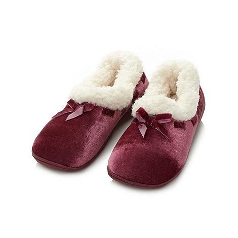 Debenhams Classics - Purple velour fleece moccasin slippers