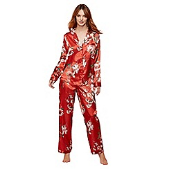 The Collection - Bright orange floral print satin 'Ariana' long sleeve pyjama set