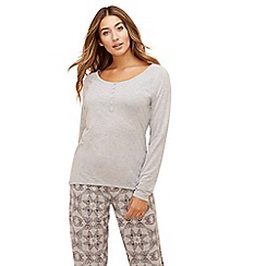 Lounge & Sleep - Grey 'Nature Trail' long sleeve pyjama top