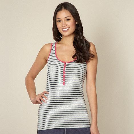 Iris & Edie - Designer grey striped racer back pyjama vest