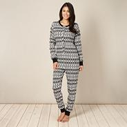 Online exclusive women's black ribbed fairisle print onesie