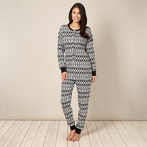 Iris & Edie - Online exclusive black ribbed fairisle print onesie