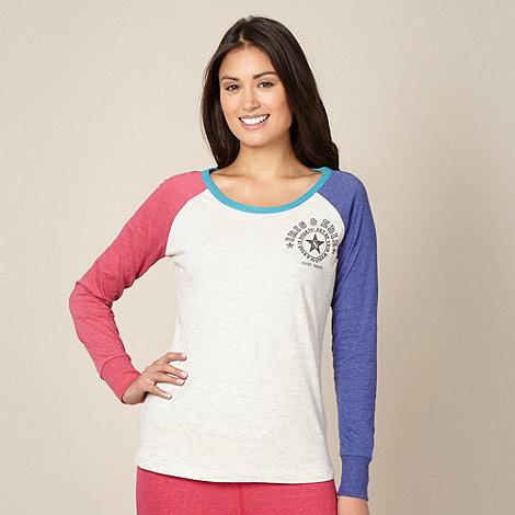 Iris & Edie - Designer natural contrast raglan sleeve pyjama top