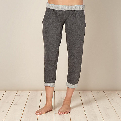 Iris & Edie - Designer grey roll top cropped pyjama bottoms