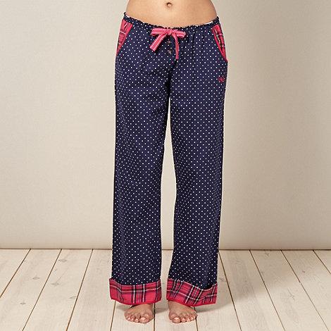 Iris & Edie - Designer navy star print woven pyjama bottoms