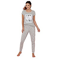 Lounge & Sleep - Grey sequin cotton blend 'Nature Trail' short sleeve pyjama set