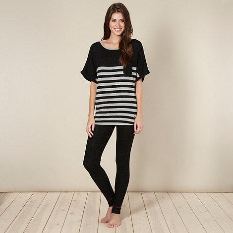 Iris & Edie - Designer black stripe fleck pyjama set