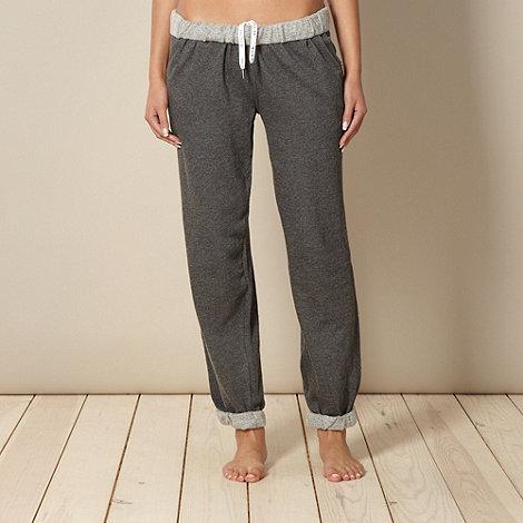 Iris & Edie - Online exclusive designer grey roll top long pyjama bottoms
