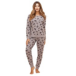 Lounge & Sleep - Grey butterfly print long sleeve pyjama set