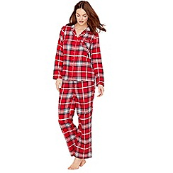 Lounge & Sleep - Petite red check print pure cotton long sleeve pyjama set