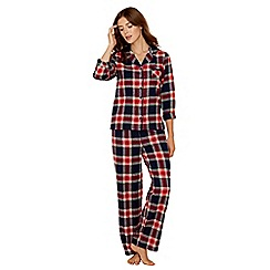 Lounge & Sleep - Navy check print pure cotton long sleeve pyjama set