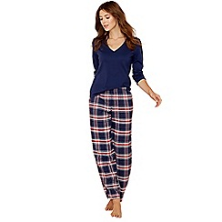 Lounge & Sleep - Blue check print cotton blend long sleeve pyjama set