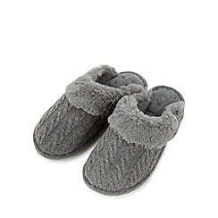 Isotoner - Dark grey cable knit mule slippers